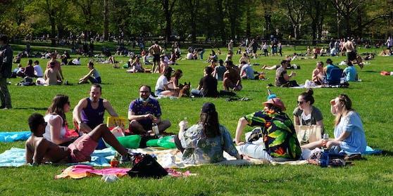 Zahlreiche Menschen genießen die Sonne in einem Park.
