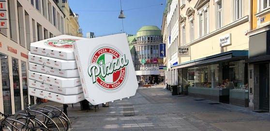 Symbolfoto von der St. Pöltner Innenstadt und Pizza-Kartons.