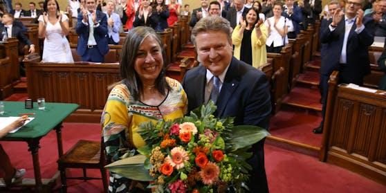 Maria Vassilakou im Wiener Gemeinderat bei ihrer Verabschiedung als grüne Vize-Bürgermeisterin am 26. Juni 2019.
