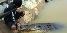 Wildes Krokodil frisst Dorfbewohnern aus der Hand