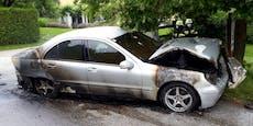 Mercedes fing in Klagenfurt während der Fahrt Feuer