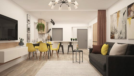 Das Lowboard (links im Bild) wird im Möbelhandel auch als TV-Board bezeichnet. Es scheint den Fernseher in einem modernen Wohnzimmer förmlich zu unterstreichen - und bietet darüber hinaus viel Platz für technisches Equipment.