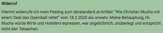 """Christian W. Mucha erwirkte schon Widerrufe wie diesen im """"Standard""""-Forum."""