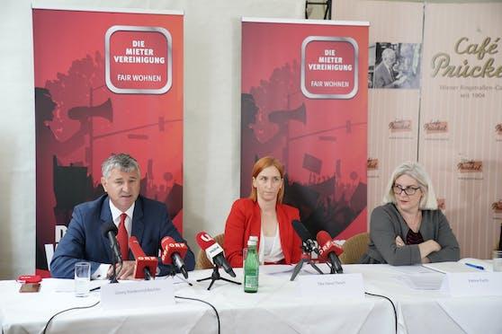 Georg Niedermühlbichler und Elke Hanel-Torsch von der Mietervereinigung, Unternehmerin Patrice Fuchs (v.l.)