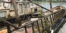 Ölsperre auf der Donau nach Treibstoff-Austritt