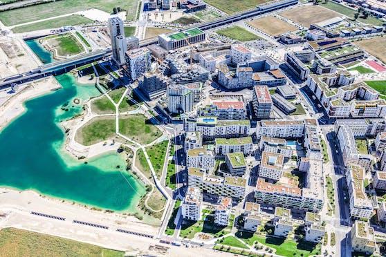 Das Stadtentwicklungsgebiet Seestadt Aspern in der Donaustadt.