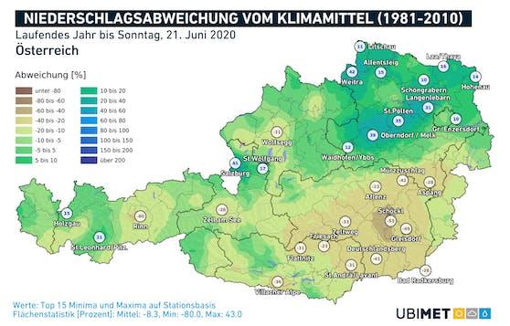 Die aktuelle Niederschlagsabweichung vom Klimamittel (1981-2010)