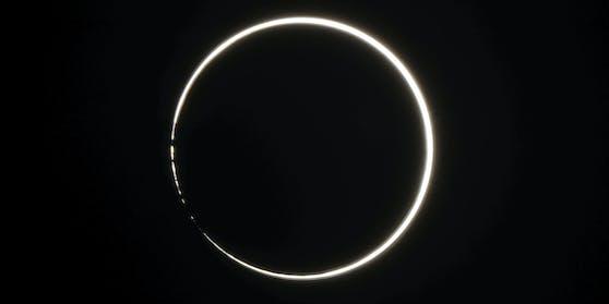 Ringförmige Sonnenfinsternis am 21. Juni 2020. Das Foto wurde auf der südjapanischen Insel Ishigaki nahe Taiwan aufgenommen.