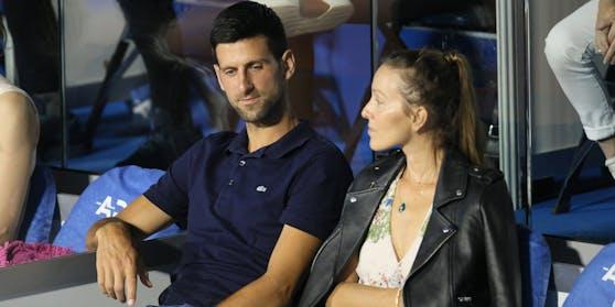 Novak Djokovic (l.) mit Gattin Jelena