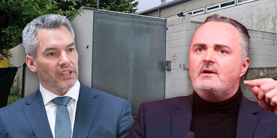 Hans Peter Doskozil (SP, r.) liegt mit Innenminister Karl Nehammer (VP, l.) im Asyl-Clinch.