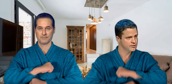"""Strache und Gudenus singen im neuesten Deepfake-Video über den """"Mann mit dem Koks""""."""