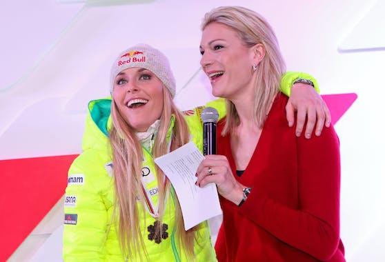 Maria Höfl-Riesch mit Lindsey Vonn