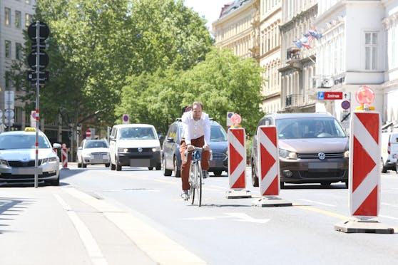 Der Pop-up-Radweg in der Praterstraße wurde vergangenes Jahr gut angenommen.