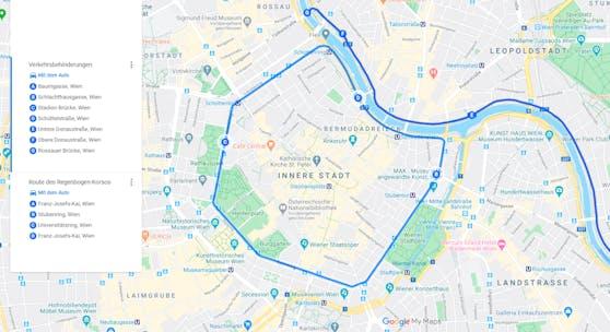 Die Route des Regenbogen-Korsos am 27. Juni 2020