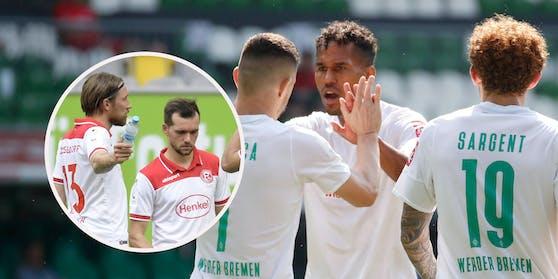 Werder Bremen schickt Kevin Stöger (rechts im Kreis) und seine Düsseldorfer in die zweite Liga.