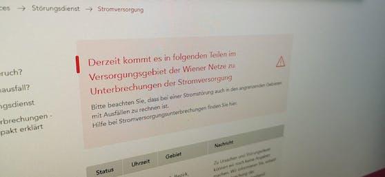 Die Wiener Netze melden einen Stromausfall.