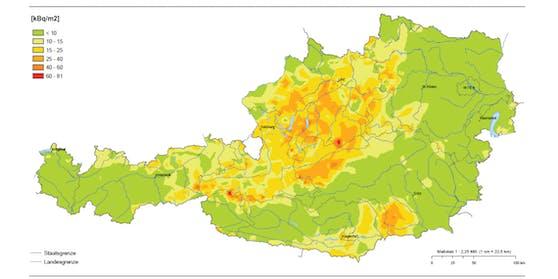 Bodenbelastung durch Cäsium-137 in Österreich, Stand 1. Mai 2016