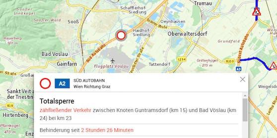 Totalsperre der A2 Richtung Graz nach Lkw-Unfall (28. Juni 2020)
