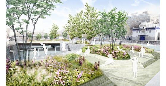 """So sollen die """"Schwimmenden Gärten"""" am Wiener Donaukanal ausschauen."""