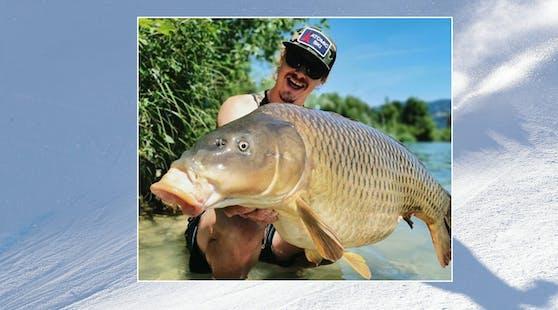Manuel Feller mit dem Riesenfisch