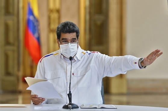 Venezuelas Machthaber Nicolas Maduro mit Schutzmaske bei einer Ansprache am 9. Mai 2020