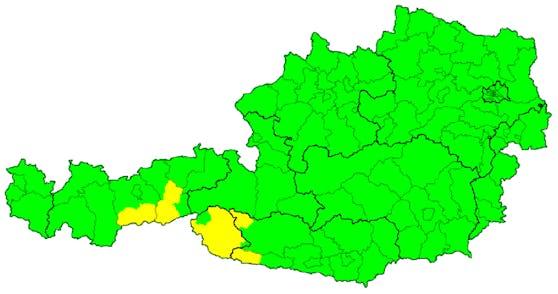 Am 30. Juni 2020 war die Unwetterkarte für (fast) ganz Österreich auf Grün. Das wird sich bald ändern