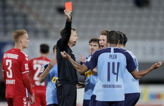 Referee Markus Schmidt zeigte Plea und Eberl Rot.