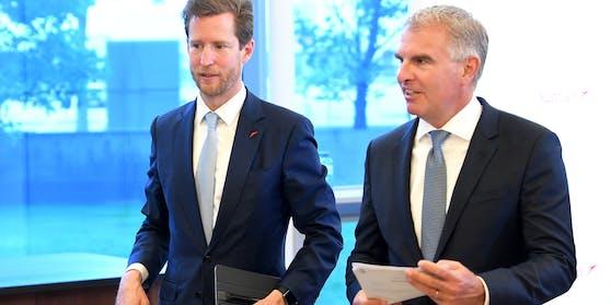 AUA-Chef Alexis von Hoensbroech und Lufthansa-Chef Carsten Spohr