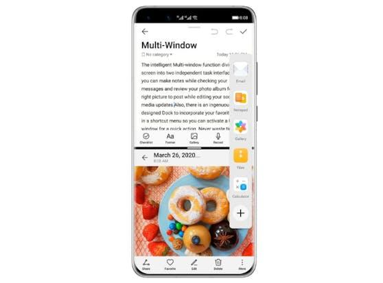 Die Huawei P40-Flaggschiffe verfügen über die innovative Funktion von Floating Windows: Der Nutzer kann dabei zwei Applikationen gleichzeitig geöffnet haben.
