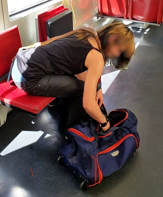 Eine Wienerin wurde gesehen, wie sie eine Schlange um den Hals in einer Straßenbahn transportierte.
