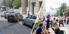 Parkplätze in Wien für grüne Chill-out-Area geschliffen