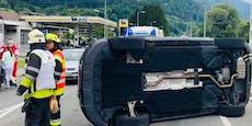 Unfall bei Bregenz, Auto überschlägt sich