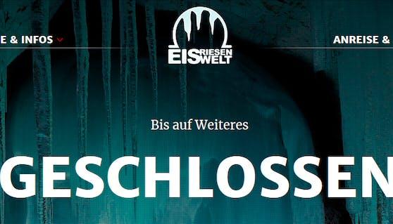 Blick auf die Homepage der Eisriesenwelt: Nach tragischem Unfall ist die größte Eishöhle der Welt geschlossen.