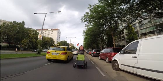 Gefährliche Radfahrt in Wien-Brigittenau
