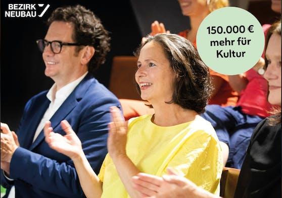 Der Bezirk Neubau unterstützt 49 Künstlern mit 1.300 Euro Grundgehalt. Bezirkschef Markus Reiter und die Vorsitzende der Kulturkommission Neubau, Anna Babka (beide Grüne) stellten das Projekt vor.