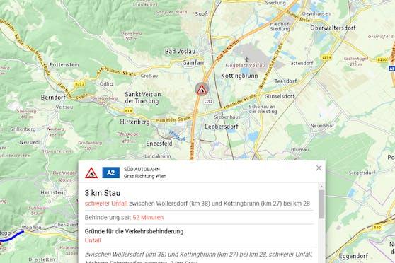 Schwerer Unfall auf der A2 zwischen Kottingbrunn und Wöllersdorf (NÖ) am 15. Juli 2020