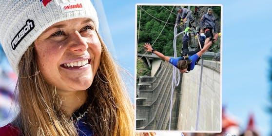 Corinne Suter stürzt sich am Bungee-Seil waghalsig in die Tiefe.