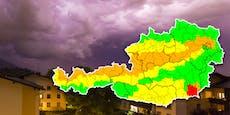 Neue Unwetter sorgen für Warnstufe Rot in Österreich