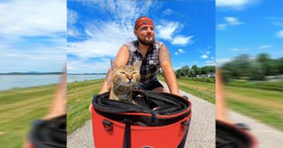 Dean Nicholson und Katze Nala bereisen die Welt - auf dem Fahrrad.