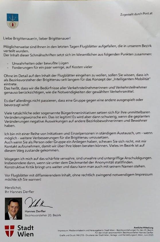 In einer amtlichen Mitteilung richtet sich Bezirksvorsteher Hannes Derfler an die Bewohner der Brigittenau.