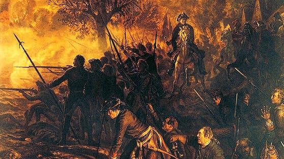Friedrich und die Seinen in der Schlacht bei Hochkirch. Gemälde von Adolph Menzel, 1850-1856