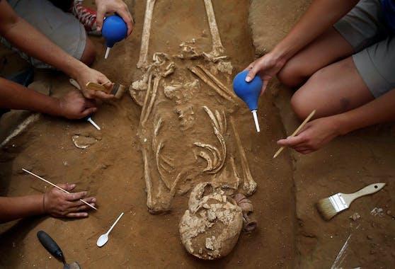 Archäologen legen ein Skelett frei. Symbolbild