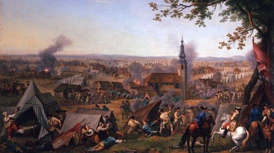 Der Überfall bei Hochkirch am 14. Oktober 1758 in einer zeitgenössischen Darstellung