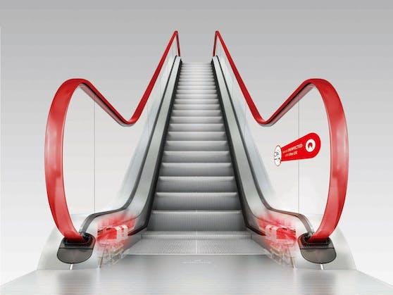 Dabei bestrahlt ein Modul die Handläufe der Rolltreppen mit keimtötendem UV-C-Licht.