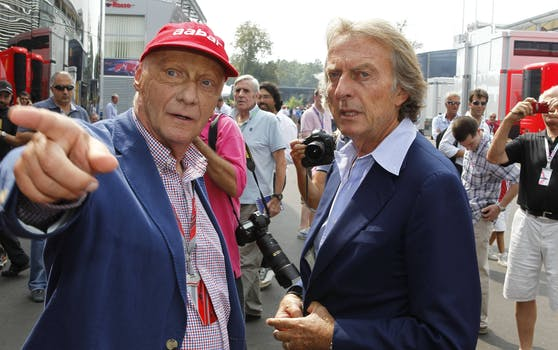 Niki Lauda mit Ferrari-Macher Luca di Montezemolo