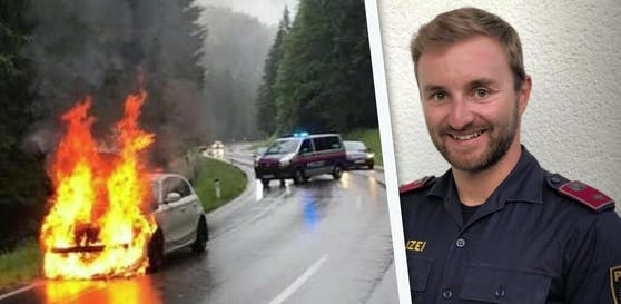 Alpinpolizist Pascal aus Gmunden rettete dem Beifahrer (32) dieses brennenden E-Autos das Leben.