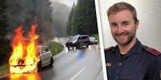 Polizist rettete Beifahrer aus diesem brennenden Auto