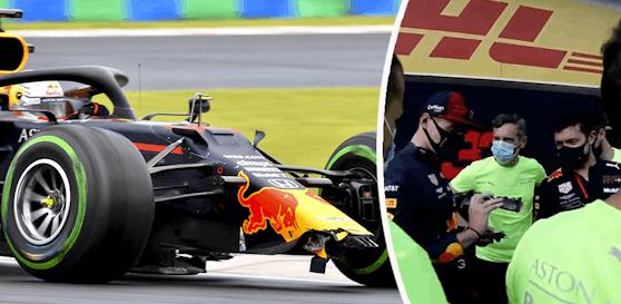 Die Red-Bull-Mechaniker scherzen über den Crash von Max Verstappen.