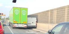 Stau-Chaos auf Tangente: Lkw quetscht Lieferwagen ein