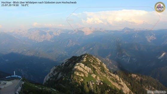 Die selbe Cumulonimbus vom Hochkar aus gesehen, in 140 km Entfernung  (23. Juli 2020)